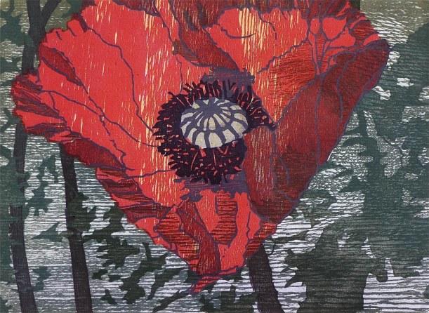 Poppy houtsnede Saskia van Voorn